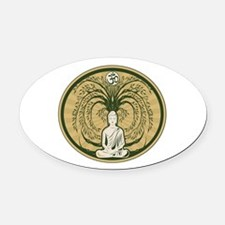Buddha and the Bodhi Tree Oval Car Magnet