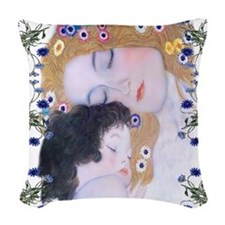 Klimt Art Deco Mother Child Woven Throw Pillow