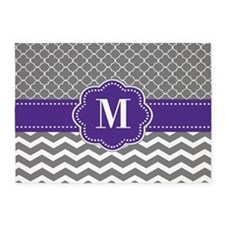 Gray Purple Quatrefoil Chevron Personalized 5'x7'A