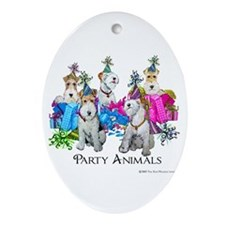 Fox Terrier Party Animals Oval Ornament