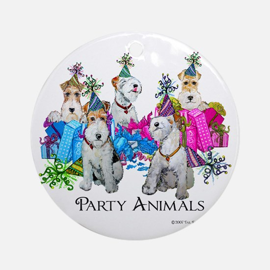Fox Terrier Party Animals Ornament (Round)