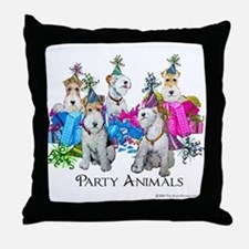 Fox Terrier Party Animals Throw Pillow