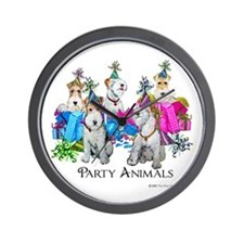 Fox Terrier Party Animals Wall Clock