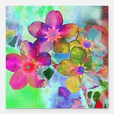 """Flowers batik style Square Car Magnet 3"""" x 3"""""""