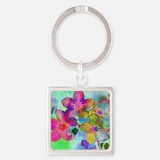Flowers batik style Square Keychain