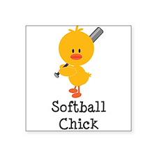 "Cute Fastpitch softball Square Sticker 3"" x 3"""