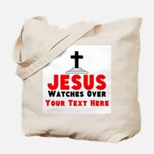 Jesus Watches Over Tote Bag