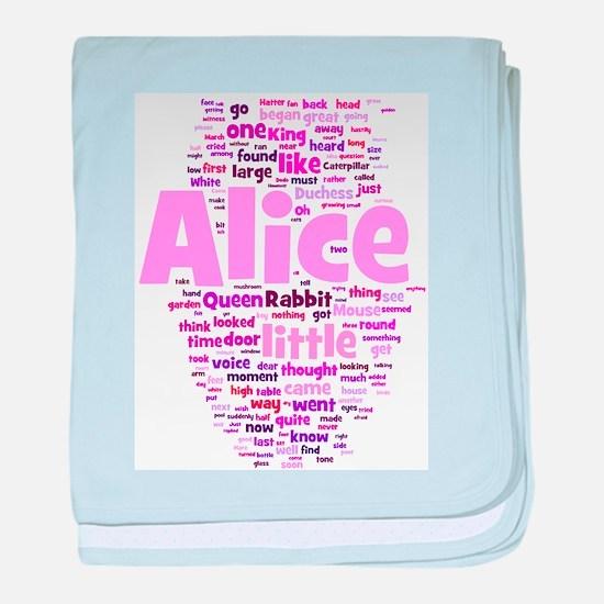 Alice in Wonderland Word Art baby blanket