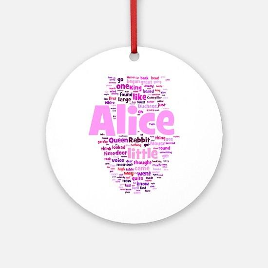 Alice in Wonderland Word Art Ornament (Round)