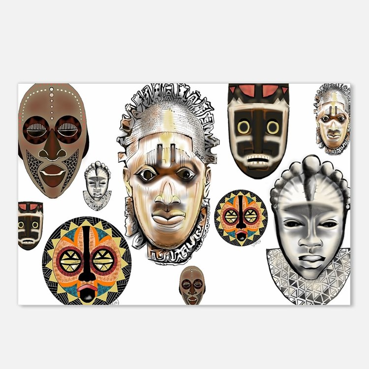 Cute African mask Postcards (Package of 8)