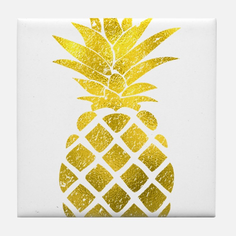 Faux Gold Foil Pineapple Tile Coaster