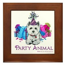 Westie Party Celebration Framed Tile