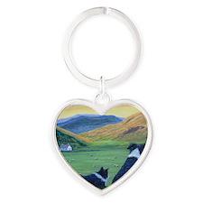 Cute Heather Heart Keychain