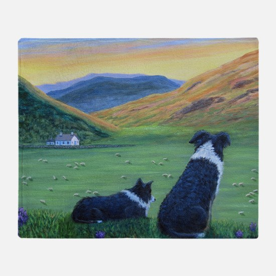 Cute Border collies Throw Blanket
