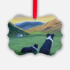 Cute Border collie art Ornament