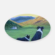 Cute Border collie Oval Car Magnet