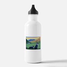 Cute Border collie art Water Bottle