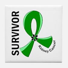 Kidney Cancer Survivor 12 (Green) Tile Coaster