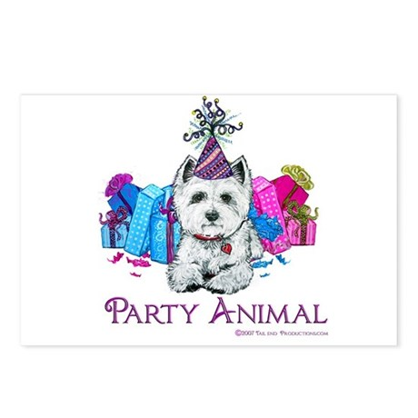Westie Party Celebration Postcards (Package of 8)