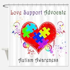 Autism Shining Heart Shower Curtain