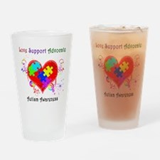 Autism Shining Heart Drinking Glass