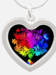 Autism Spectrum Tree Silver Heart Necklace