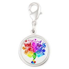 Autism Spectrum Tree Silver Round Charm