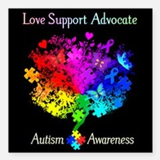 "Autism Spectrum Tree Square Car Magnet 3"" x 3"""