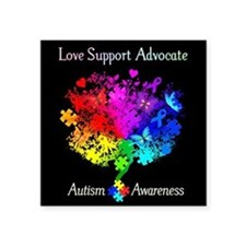 "Autism Spectrum Tree Square Sticker 3"" x 3"""
