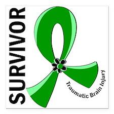 "TBI Survivor 12 Square Car Magnet 3"" x 3"""