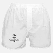 Keep Calm and Productivity ON Boxer Shorts