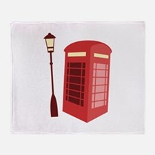 Red Phone Booth Throw Blanket