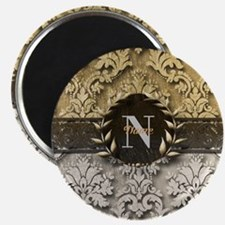 Damask 2 Gold Platinum Monogram Magnets
