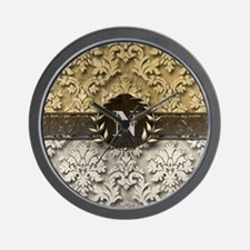 Damask 2 Gold Platinum Monogram Wall Clock