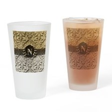 Damask 2 Gold Platinum Monogram Drinking Glass