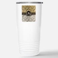 Damask 2 Gold Platinum Monogram Travel Mug