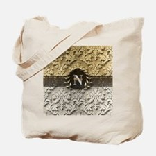 Damask 2 Gold Platinum Monogram Tote Bag