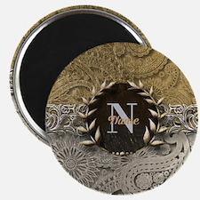 Paisley Sq Gold Platinum Monogram Magnets
