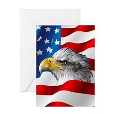 Bald Eagle On American Flag Greeting Cards