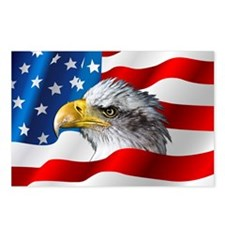 Bald Eagle On American Flag Postcards (Package of