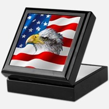 Bald Eagle On American Flag Keepsake Box