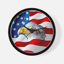 Bald Eagle On American Flag Wall Clock