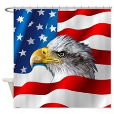 Bald Eagle On American Flag Shower Curtain