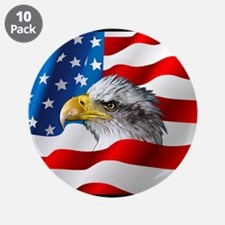 "Bald Eagle On American Flag 3.5"" Button (10 pack)"