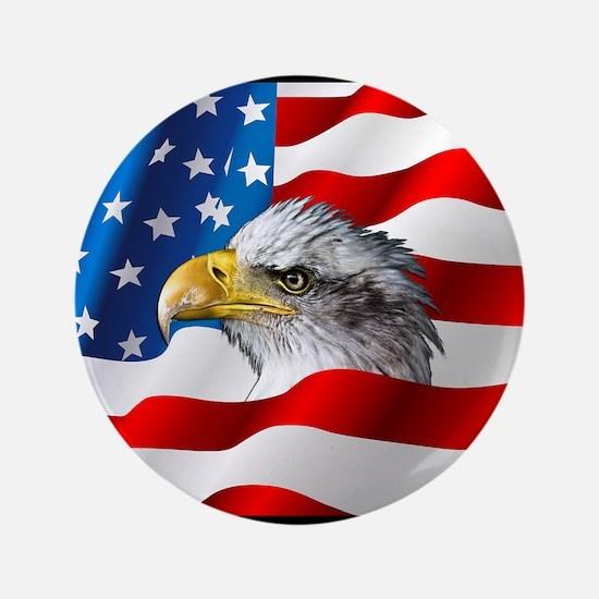 Bald Eagle On American Flag Button
