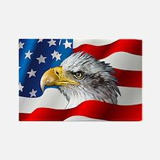 Bald Eagle On American Flag Magnets