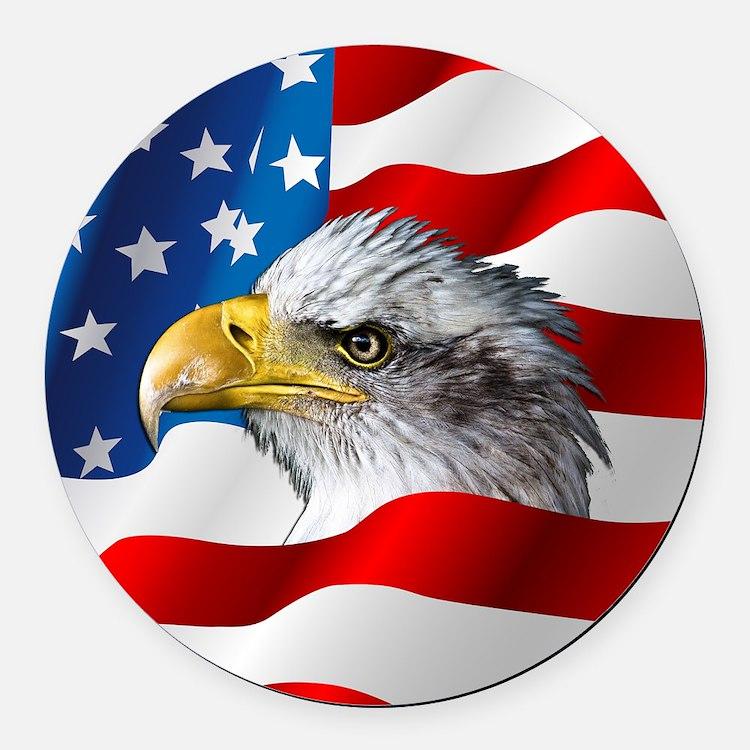 Bald Eagle On American Flag Round Car Magnet
