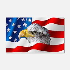 Bald Eagle On American Flag Car Magnet 20 x 12
