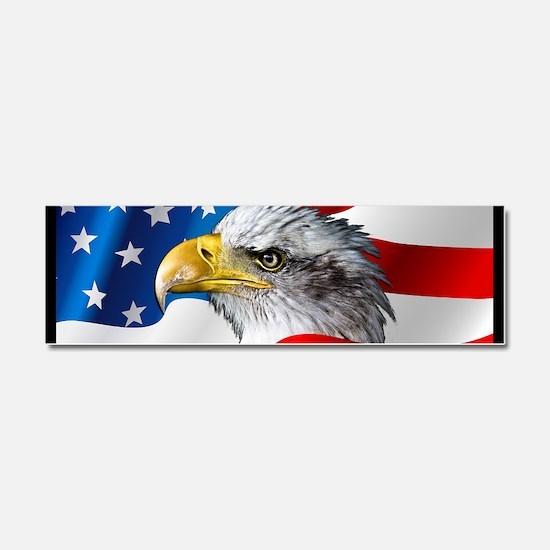 Bald Eagle On American Flag Car Magnet 10 x 3
