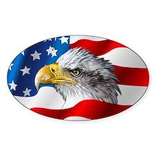 Bald Eagle On American Flag Decal